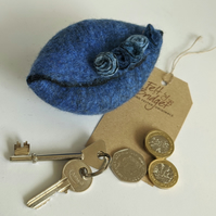 Wet felted Pod Purse: Denim blue purse (L)