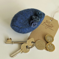 Small felted Pod Purse: Denim blue