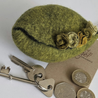 Wet felted Pod Purse: Zingy Olive (L)