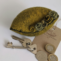 Wet felted Pod Purse: Yellow (L)