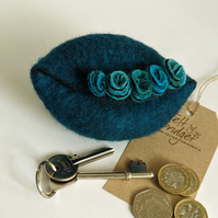Wet felted Pod Purse: Deep Teal purse (L)