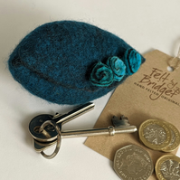 Small felted Pod Purse: Deep Teal