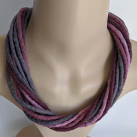 The Twist: felted cord necklace in shades of grey and deep pinks