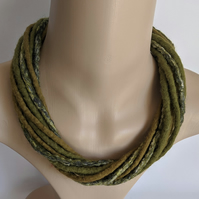 The Twist: felted cord necklace in shades of olive