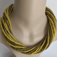 The Twist: felted cord necklace in shades of yellow