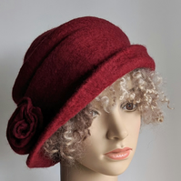 Ruby red felted wool hat - homage to Downton!