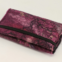 Credit card wallet: felted wool - deep pink