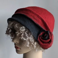 Felted wool cloche hat: Red and charcoal, double layered
