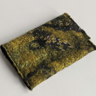 Credit card wallet: felted wool - yellows (single)