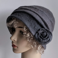 Felted wool cloche hat: Shades of grey, double layered