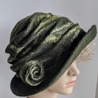 Felted wool brimmed hat: Double layered  - from the Squashable Range