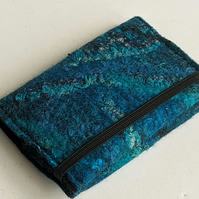Credit card wallet: felted wool - teal and turquoise