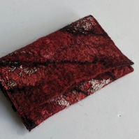 Credit card wallet: felted wool - reds (single)