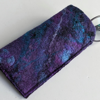 Glasses case: felted wool - purples