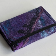 Credit card wallet: felted wool - purples