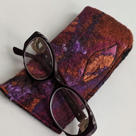 Glasses case: felted wool - pinks and oranges