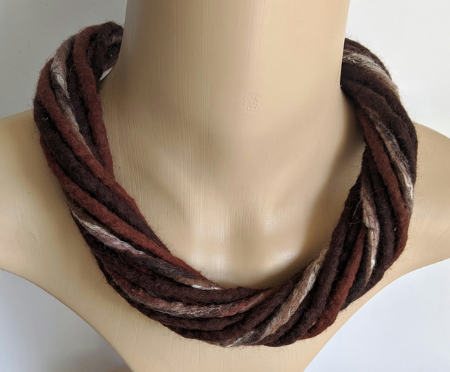 The Twist: felted cord necklace in shades of brown