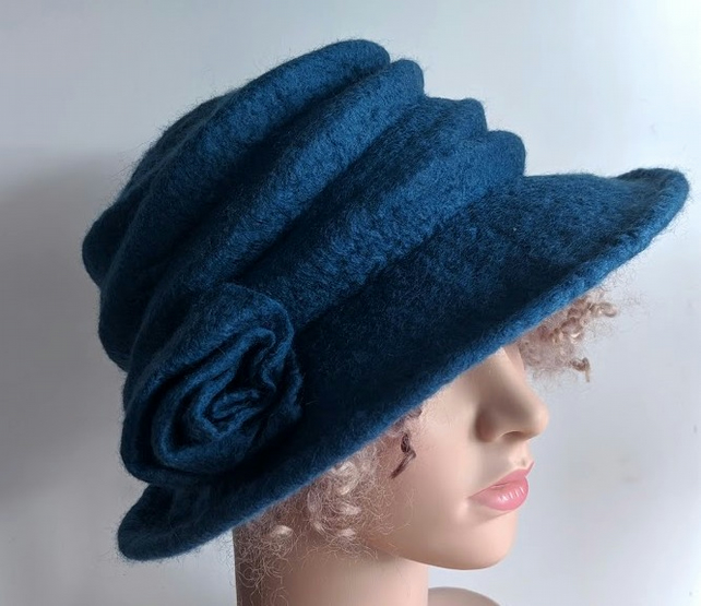 Denim blue felted wool hat - 'The Crush' - designed to pack flat