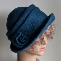 Denim blue felted wool hat - homage to Downton!