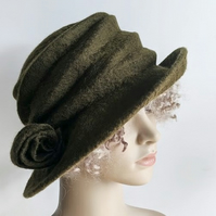 Olive green felted wool hat - 'The Crush' - designed to pack flat
