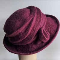 Elderberry felted wool hat - 'The Crush' - designed to pack flat