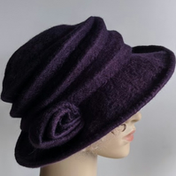 Aubergine felted wool hat - 'The Crush' - designed to pack flat