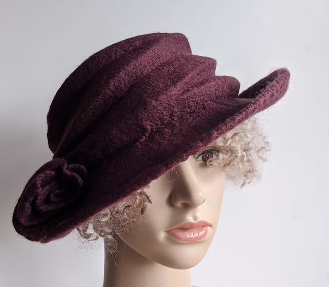 Maroon felted wool hat - 'The Crush' - designed to pack flat