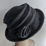 Pewter grey felted wool hat - 'The Crush' - designed to pack flat