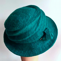 Teal felted wool hat - 'The Crush' - designed to pack flat
