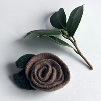 Mink rose brooch: upcycled wool felt