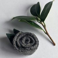Tweed grey rose brooch: upcycled wool felt