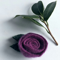 Damson rose brooch: upcycled wool felt