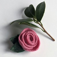 Pink rose brooch: upcycled wool felt