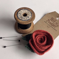Coral coloured rose brooch: upcycled wool felt