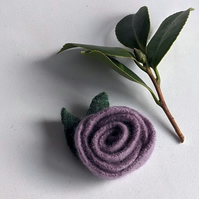 Lilac rose brooch: upcycled wool felt