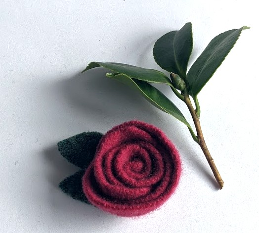 Claret rose brooch: upcycled wool felt