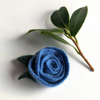 Blue rose brooch: upcycled wool felt