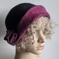 Charcoal felted wool cloche hat with magenta pink brim