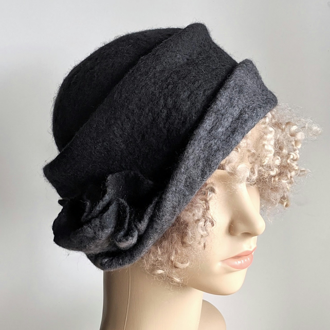 Charcoal felted wool cloche hat with grey brim