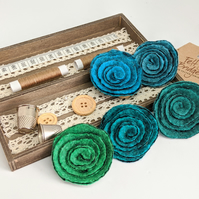 Art deco inspired rose brooch - the jade and turquoise selection