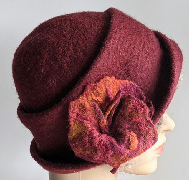 Deep red felted wool cloche hat