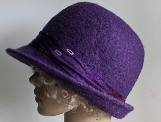 Aubergine felted wool bowler style hat
