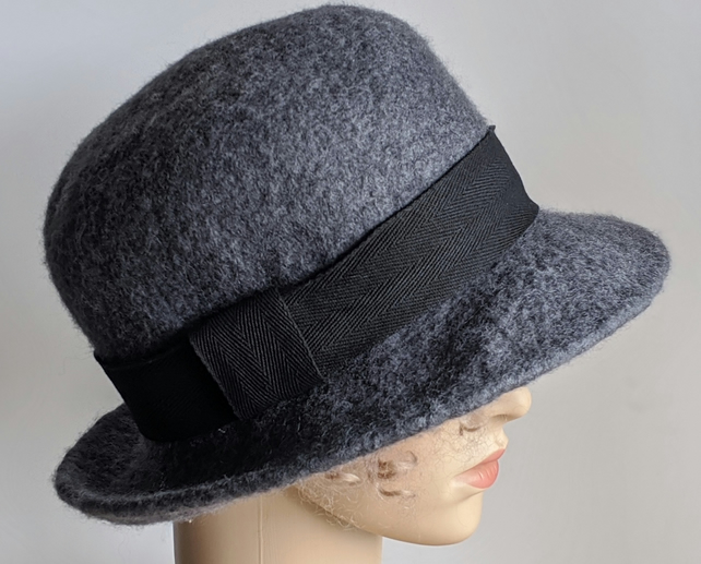 Grey felted wool bowler inspired hat