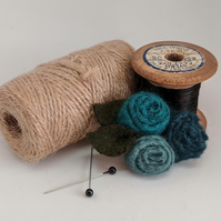 Small felted roses brooch in shades of teal