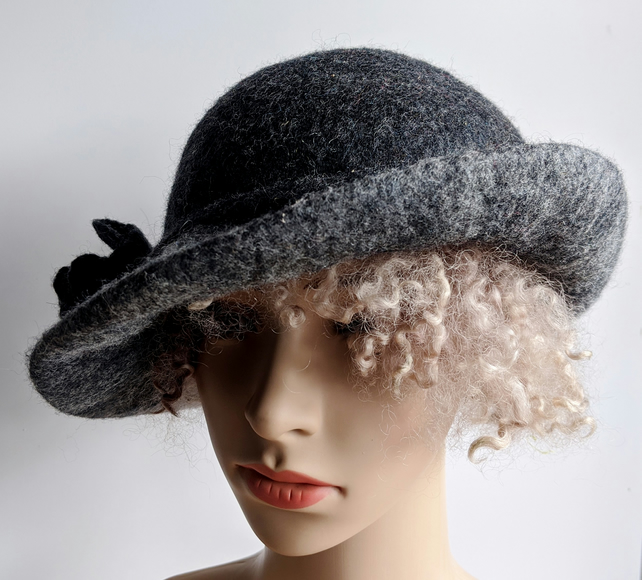 Tweedy charcoal and grey felted wool hat  - One of the 'Squashable' range