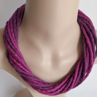 The Twist: felted cord necklace in shades of pinky purple