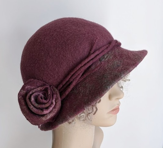 Dusky pink felted wool hat - One of the 'Squashable' range