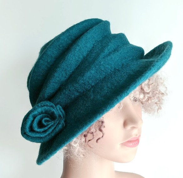 Bright teal green felted wool hat - 'The Crush' - designed to pack flat
