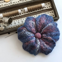 Large felted flower brooch - soft blue and pinks