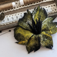 Large felted flower brooch - olive and yellows